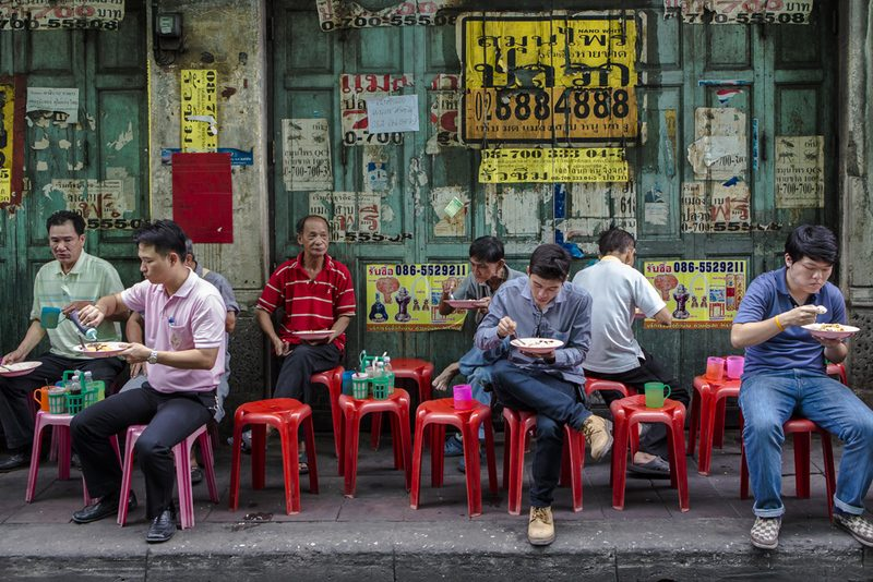 Street diners at popular stall in Chinatown Bangkok Street Credit Mick Shippen