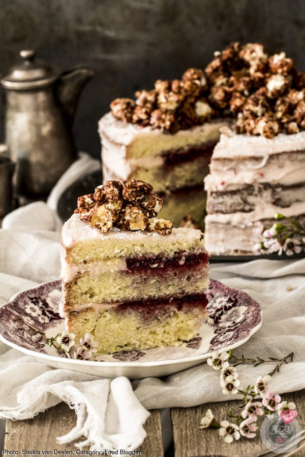 Half Naked Cake with Popcorn Topping