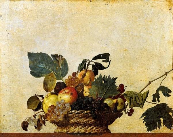 Michelangelo Merisi de Caravaggio  Basket of Fruit, c. 1595–1596 history of food photography