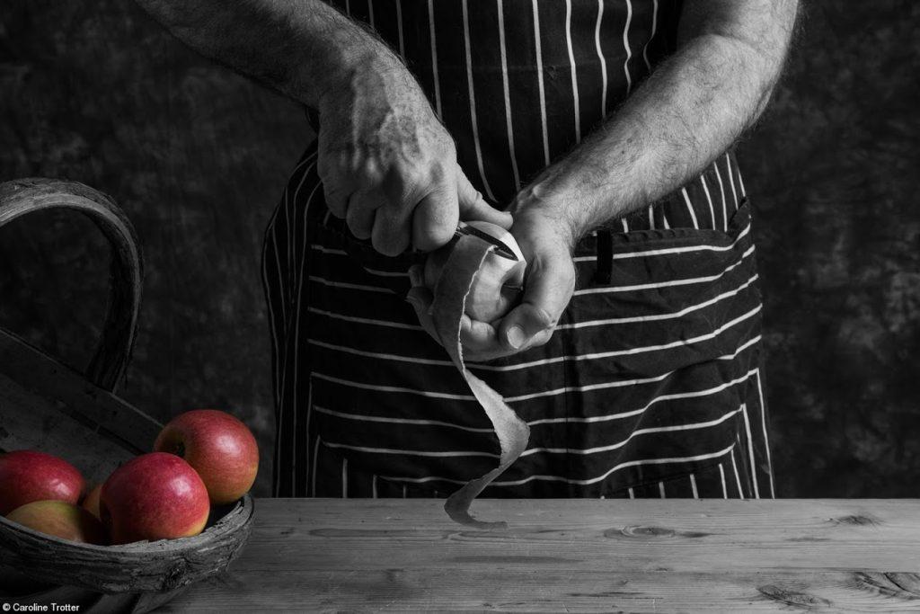 HC_caroline-trotter_apple-pie-making black and white photo_credited-1-1