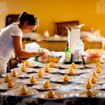 John Armstrong Millar - Chef preparing warm pear and vanilla desert at a wedding in South West France
