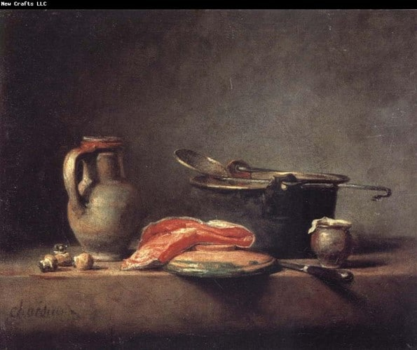 Copper Cauldron with a Pitcher and a Slice of Salmon (oil) by Jean Baptiste Simeon Chardin food photography origin